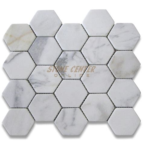 calacatta gold 3 inch hexagon mosaic tile tumbled marble from italy mosaics calacatta gold