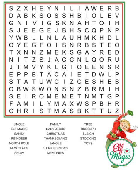 Word Search Elf Ideas From The Elf Magic Elves