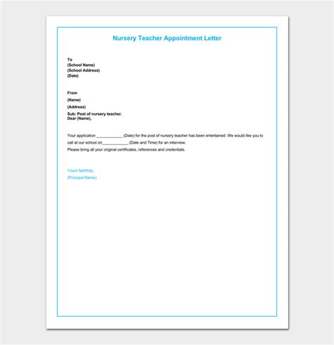 appointment letter for nursery school appointment letter 12 sle letters formats