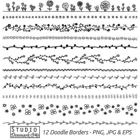 doodle pattern borders floral doodle borders clipart set commercial use 12