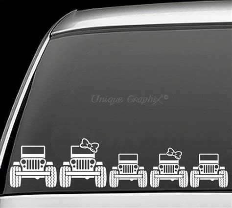 Jeep Window Decals Jeep Family Vinyl Decals Window Stickers By Uniquegraphix