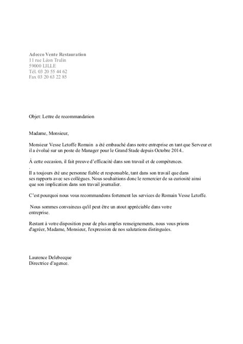 Modèle De Lettre De Recommandation Entreprise Lettre De Recommandation Adecco Lille Ev 233 Nementiel