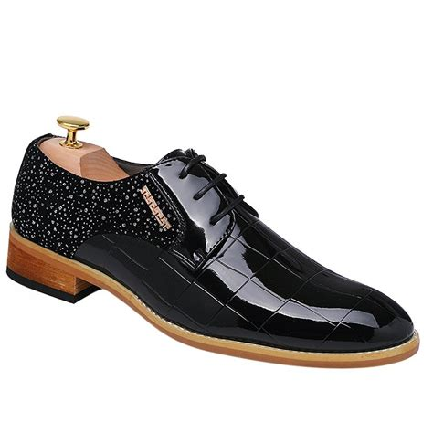dress shoes black 38 stylish splicing and black color