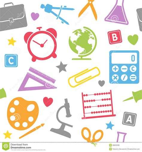 pattern education abstract school supplies seamless pattern royalty free stock photo