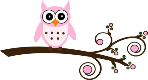 printable owl clip art pink owl on branch clip art at clker com vector clip art