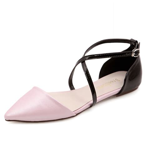 Low Heel Pointed Flats fashion pointed toe closed ankle low heel pink pu