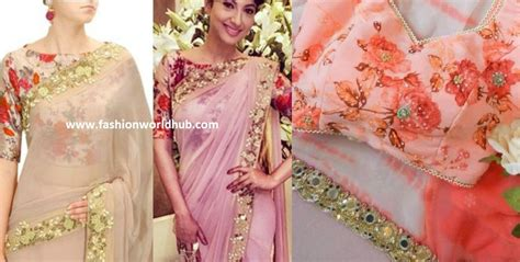 Floral Print Blouse Material For Saree by Trending Plain Sarees With Designer Blouse Fashionworldhub