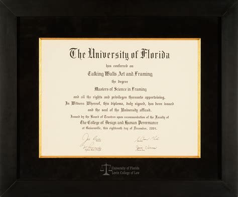 Florida Gift Card Law - university of florida levin college of law diploma frame