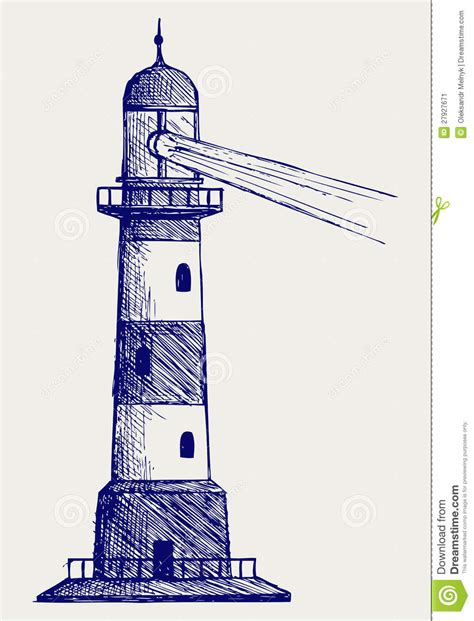 doodle a of light in the kingdom of darkness lighthouse doodle style stock image image 27927671