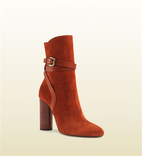 gucci suede ankle boot in lyst