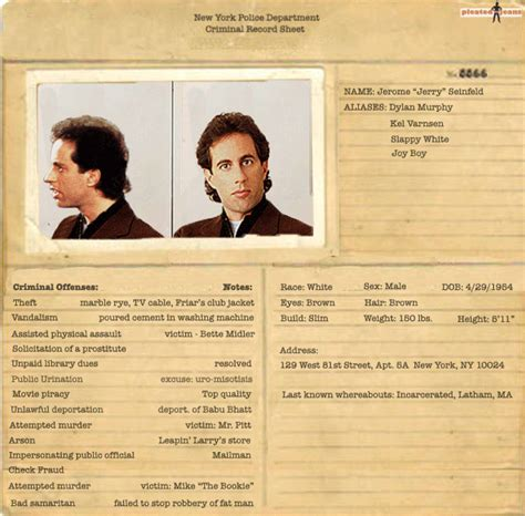What Is Included In A Criminal Record Exclusive Criminal Records For The Cast Of Seinfeld Pics Pleated