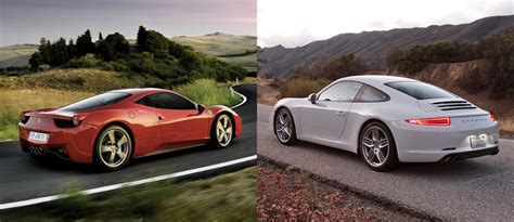porsche ferrari ferrari 458 italia or porsche 911 fiat group s world