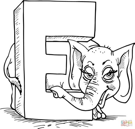 letter e is for elephant coloring page free printable