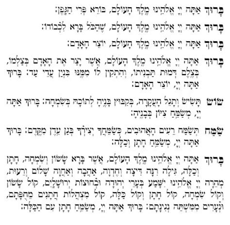 Wedding Blessing In Hebrew by Text Of Sheva Brachot Marriage