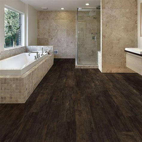 Resilient Plank Flooring Trafficmaster Ultra Wide 8 7 In X 47 6 In Rustic Forest Resilient Vinyl Plank Flooring