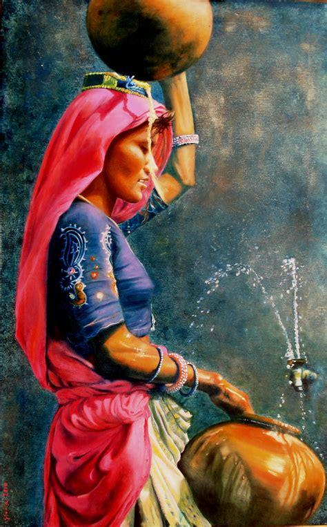 human painting rajasthan portatrice d acqua gloria guidi nobile