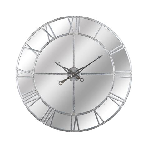 large silver foil mirrored wall clock wholesale  hill