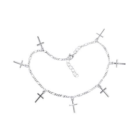 Cross Anklet sterling silver cross charm anklet property room