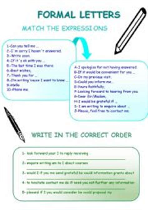 Formal Letters In Phrases Teaching Worksheets Formal Letters