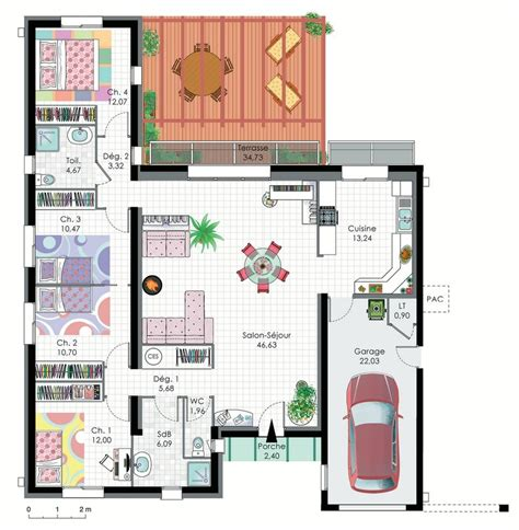 Plan Maison Plain Pied 4 Chambres Maison Moderne great images about plan maison on house plans rope plan