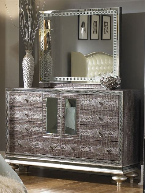 hollywood swank bedroom furniture aico hollywood swank amazing gator upholstered dresser and