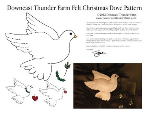 pattern for felt dove ornament the christmas dove downeast thunder farm