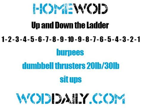 travel home wod burpees dumbbell thrusters sit ups