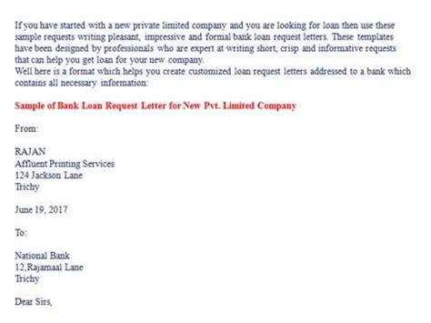 request letter for bank education loan bank loan request letter