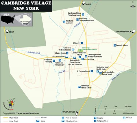 map of new york villages cambridge map a in washington county new york usa