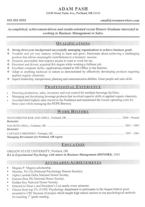 Grad School Resume Sles by Graduate School And Post Graduate Resume Exles