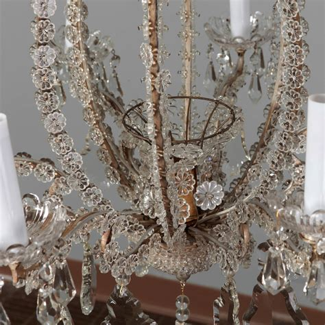 beaded canopy pair of italian chandeliers with and original