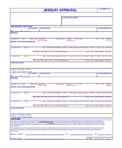 jewelry appraisal form template sle appraisal form formats 9 free documents in word pdf