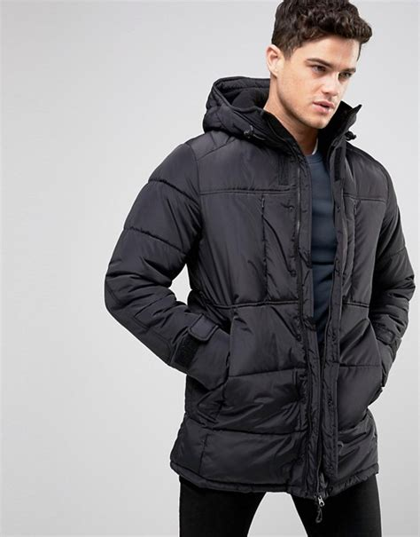 Pullbear Padding Jacket Original pull pull padded parka jacket in black