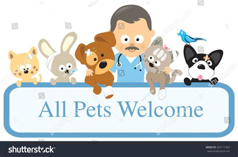 vet pets holding sign stock illustration 267111452