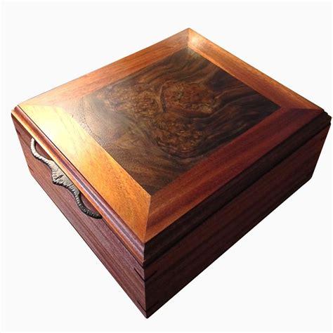 Handmade Jewelry Box - made artisan jewelry box mahogany walnut burl by
