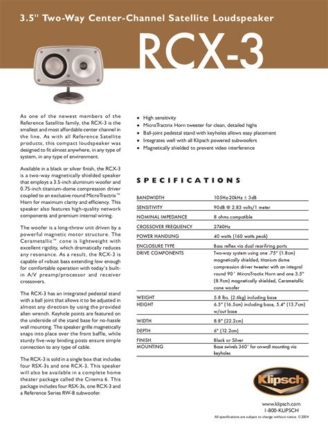 The Manual Of Speaking free pdf for klipsch reference series rsx 3 speaker manual