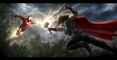 thor 2 vs iron man 3 in marvel battle wtop the avengers iron man vs thor key frame by andyparkart