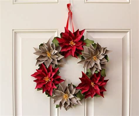 Poinsettia Paper Craft - 3d paper poinsettia and poinsettia wreath