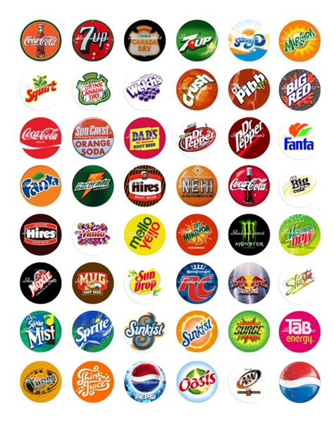 drink names soft drink logos printable digital collage sheet by