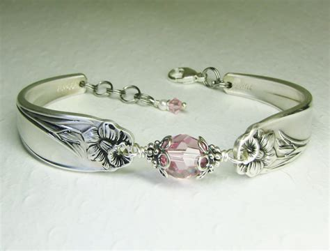 silver spoon jewelry silver spoon bracelet light pink crystals by spoonfestjewelry