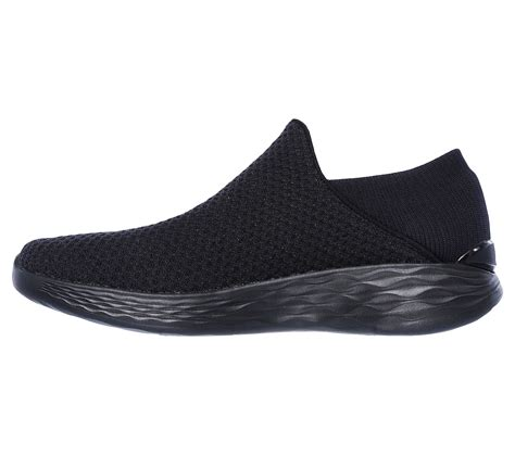 Skechers You by Skechers You Mesh Slip On All Black Woven Rudolph