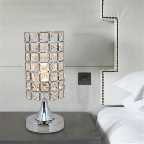 Silver Nightstand Lamps Simple Modern Fashion Crystal Decorative Table Lamp