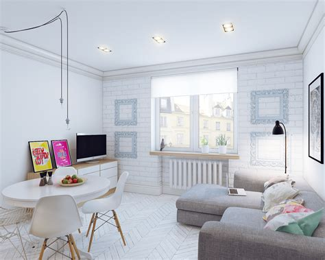 white appartment small open plan home interiors