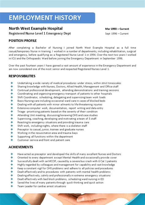 nursing resume template icu simple nursing resume with a lot of responsibilities and