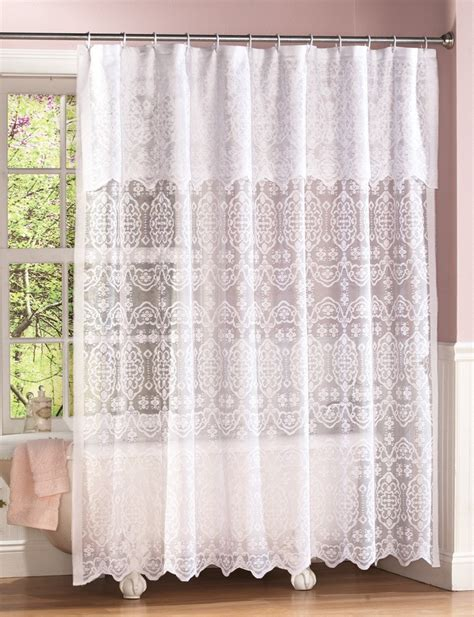 White Lace Curtains New White Lace Shower Curtain W Attached Valance White Liner Ebay