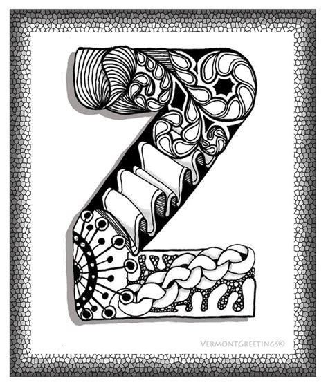 doodle lettering a z zentangle z monogram alphabet illustration image