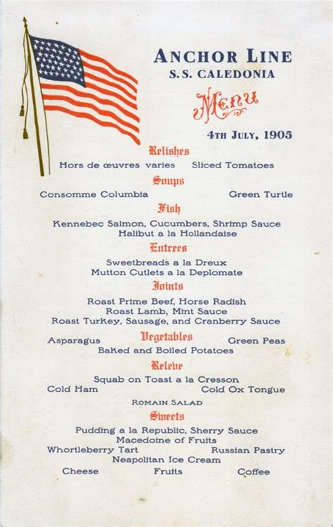 dinner menu for 4 s s caledonia dinner menu card 4 july 1905 gg archives