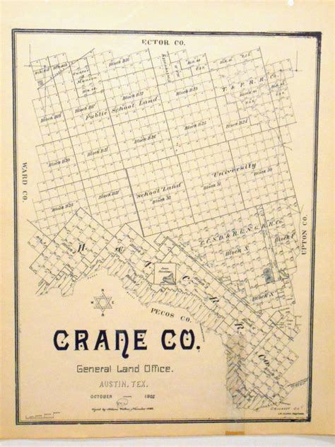 texas general land office maps crane county texas general land office owner map h t c r r ebay