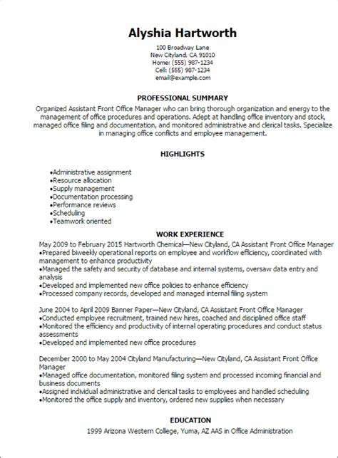 front desk supervisor resume exle 1 assistant front office manager resume templates try