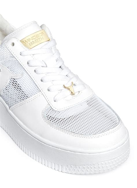 platform white sneakers smith racemesh logo leather platform sneakers in